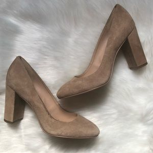 Never worn! SAM EDELMAN Stillson Tan Suede Heels